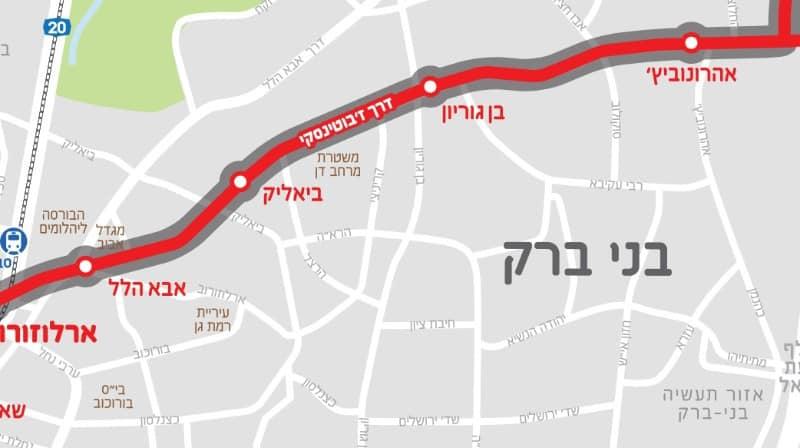 מפת הקו האדום בדרך ז'בוטינסקי (באדיבות נת